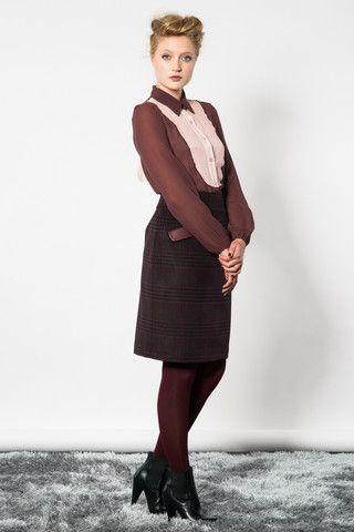 Revolution Skirt - State of Grace - merlot check pencil skirt