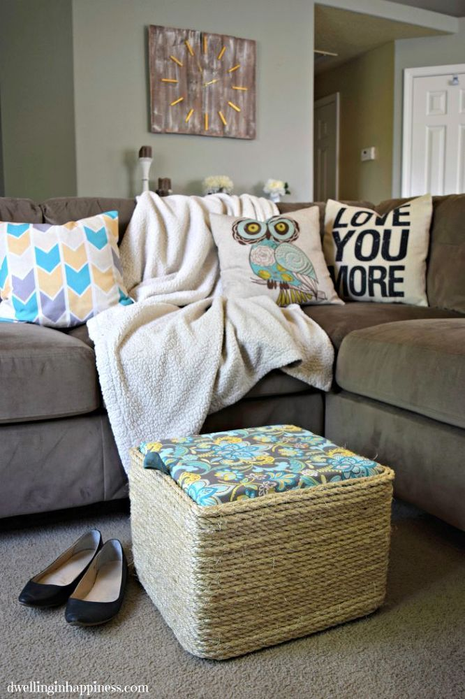 How to turn a green plastic milk crate into a gorgeous storage ottoman Would be cute outside