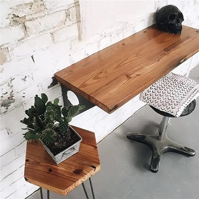 Amazon Com Industrial Rustic Wall Mounted Table Dining Table Desk Pine Wood Wall Mounted Bar Tables 40 In 2020 Wall Mounted Table Pine Wood Walls Wall Mounted Bar