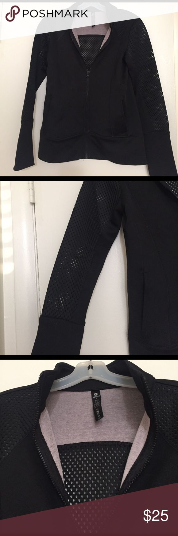 Athletic Mesh Running Jacket Zip-up lightweight jacket with scuba fabric. Mesh is on the sleeves and back of jacket. Tried it on and took the tags off but have never worn it. Pockets on the front 90 Degree by Reflex Jackets & Coats