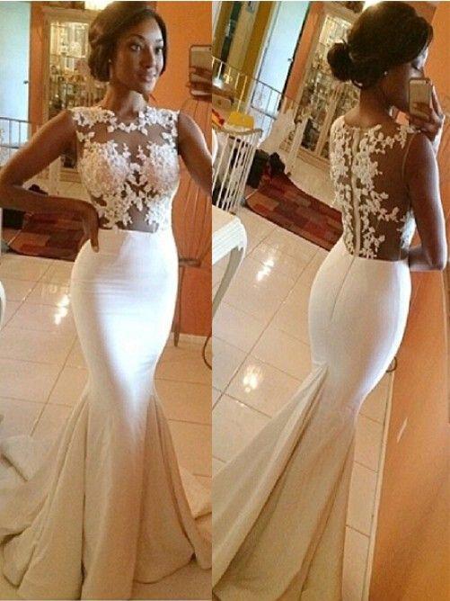 Trumpet/Mermaid High Neck Satin Applique Sleeveless Sweep/Brush Train Wedding Dresses