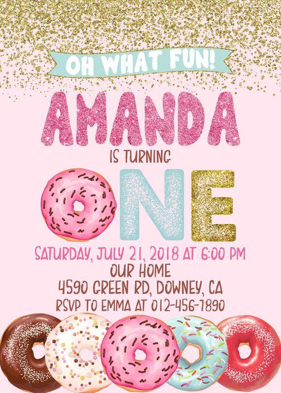 First Birthday Donut Invitation Donut Party Birthday Etsy Donut Birthday Parties Birthday Donuts Donut Invitation