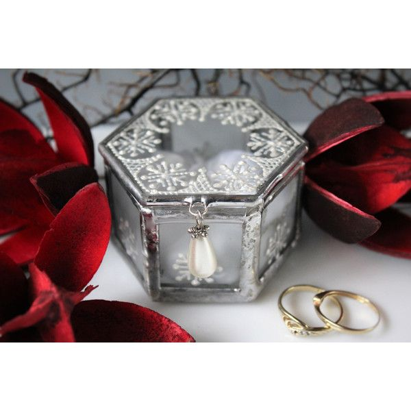 Winter wedding ring box with pillow, Small geometric glass box, Winter... ($39) ❤ liked on Polyvore featuring home and home decor