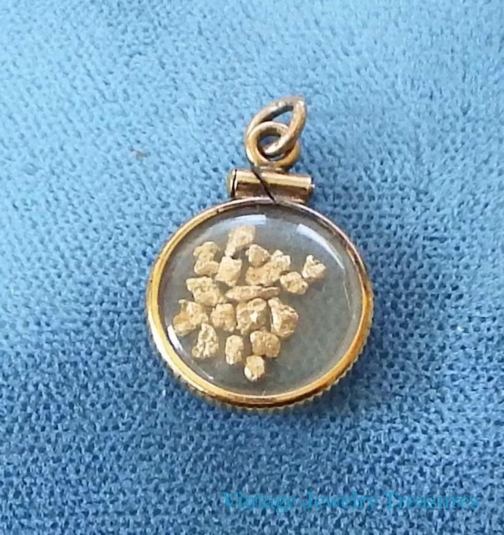 Vintage 14k Gold Filled 24K Placer Gold Flakes Tiny Pendant #pendant