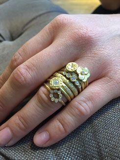 No.10 Edith Hegedüs. Stacking gold and diamond rings. Instagram: no10edithhegedus