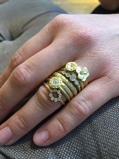 No.10 Edith Hegedüs. Stacking gold and diamond rings. Instagram: no10edithhegedus