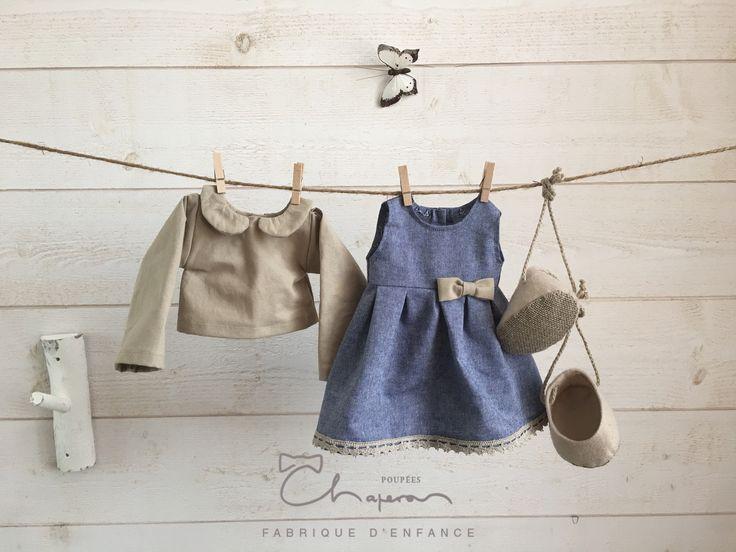 Harmonie de vêtements bleu/lin #PoupéesChaperon #poupéesWaldorf