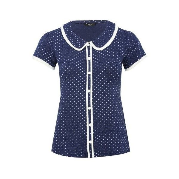 Petite peter pan collar top (495 ARS) ❤ liked on Polyvore featuring tops, short sleeve tops, peter pan collar top, button top, double layer top and dot top