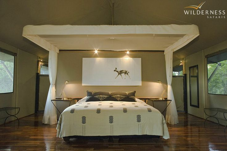 Chitabe's eight spacious en-suite Meru-style tented rooms are built on elevated wooden decks, each tastefully styled with unique décor.  #Botswana #Africa #safari
