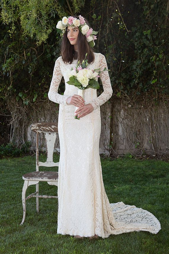 Classic Lace Wedding Dress with Long Sleeve. stretch embroidered lace wedding gown. Vintage Inspired Bohemian Wedding Dress. ivory or white