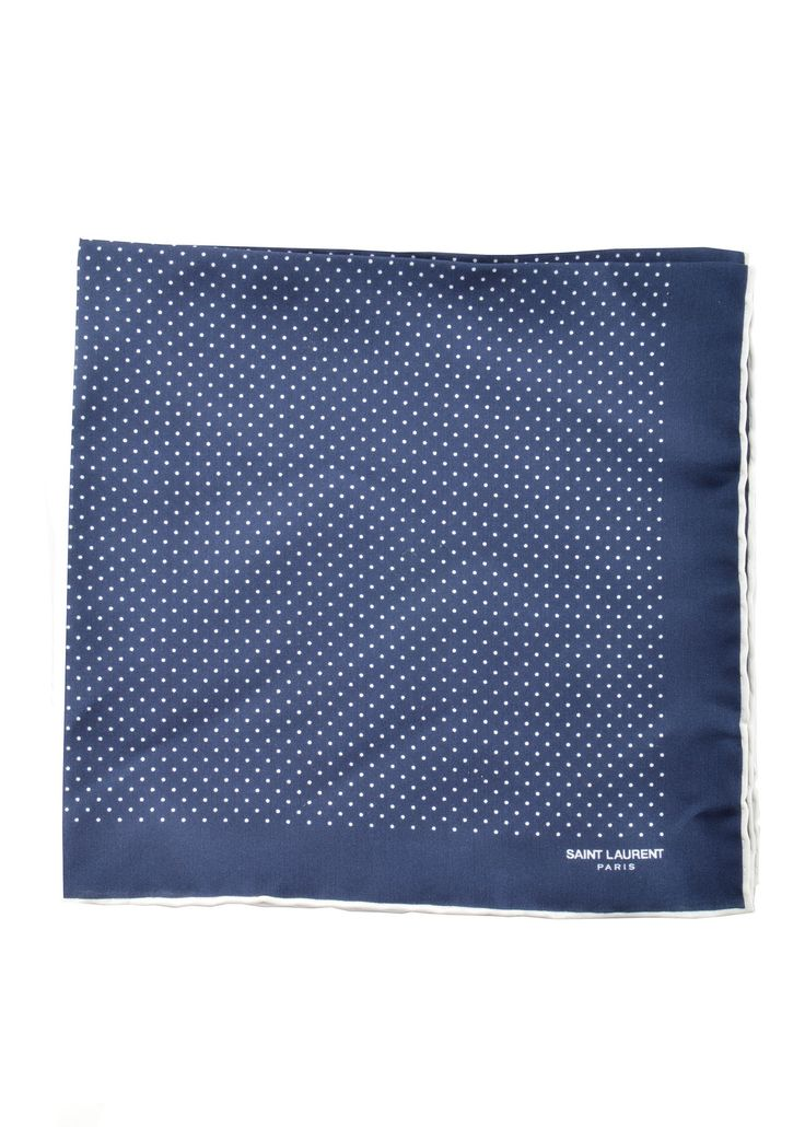 Saint Laurent Paris - Spring Summer 2015 - Menswear // Blue Pocket Square with Polka Dots