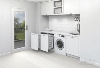Invisible helper – Hideaway bins for the laundry. Tired of seeing that heap of clothes on the laundry floor, or of finding a lost red sock has left its mark on your whites? Now there is a clever way to keep your washing organised and out of sight – and the laundry looking good.