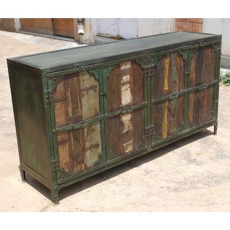 distressed industrial furniture. rustic reclaimed wood industrial distressed wrought iron 4 cabinet buffet credenza sideboard furniture x i