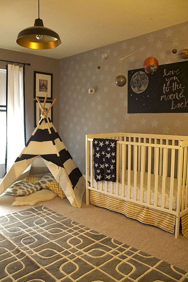 Replace glider with tee-pee and art above crib with stenciled wall design - two great ideas for transitioning to big boy room! #nursery #transitionalnurseryNursery Glider, Tee Pee, Painting Crib, Tepee Tents For Kids Bedroom, Projects Nurseries, Baby Boys Bedroom Ideas, Moon And Stars Theme Room Kids, Gender Neutral Kids Room, Baby Nurseries