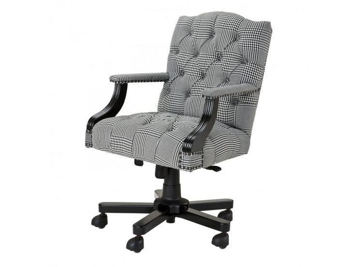 Fotel Biurowy Burchell czarno-biały — Fotele Eichholtz® — sfmeble.pl