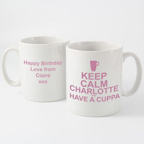 Keep Calm Mugs Pink - Personalised Keep Calm and Have A Cuppa Mug - http://www.vivabop.co.uk/products/personalised-keep-calm-and-have-a-cuppa-mug-blue