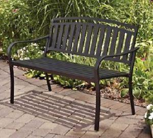 Metal Porch Bench Garden Patio Courtyard Seating Outdoor Furniture Deck Seating