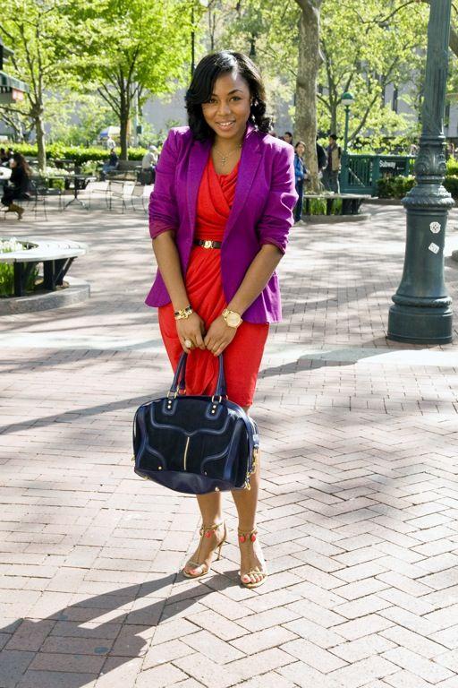 Working the Block ~ Purple Blazer & Red Dress   Kéla's Kloset
