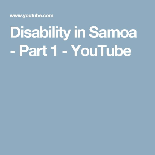 Disability in Samoa - Part 1 - YouTube