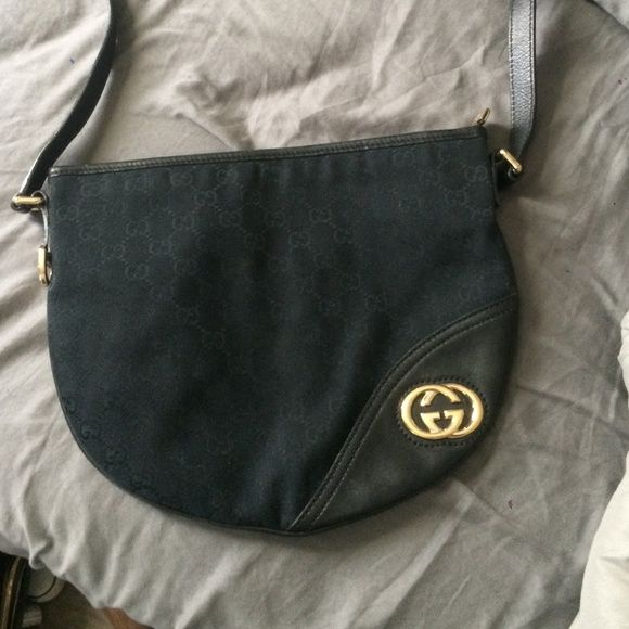 Gucci messenger bag Black monogram with gold hardware and leather trim. In great condition Gucci Bags