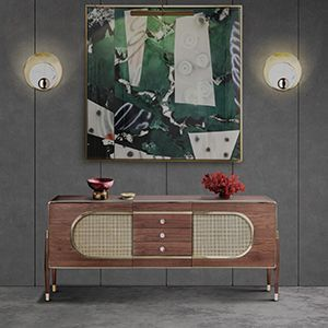 Dandy is a sleek and stylish sideboard. Since its very versatile, it can be used as a drinks cabinet and located both on a living room or dressing room. Its body is entirely made of solid walnut wood and it ressembles a kitsch radio, because of its shape and the use of grill cloth on the doors. It is accented by a brass trim on the body edges and supported by tapered legs with brass ferrules. The best from scandinavian design roots.