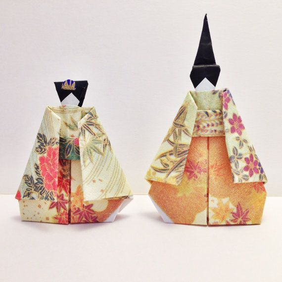 Flower patterned Origami Japanese Doll. Light by SelectShopNORA