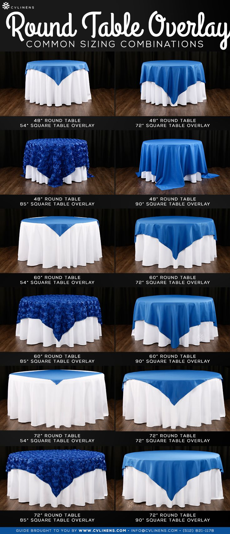 Round Table Overlays.Round Table Overlay Sizing Combinations Wedding Planning Tips