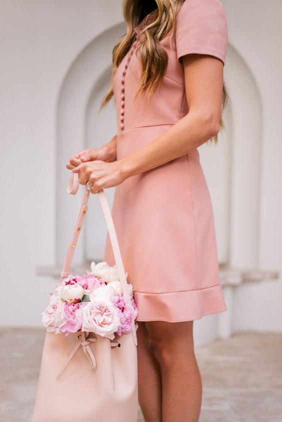 Gal Meets Glam Pretty Pink Dress -Red Valentino dress & Mansur Gavriel bag c/o