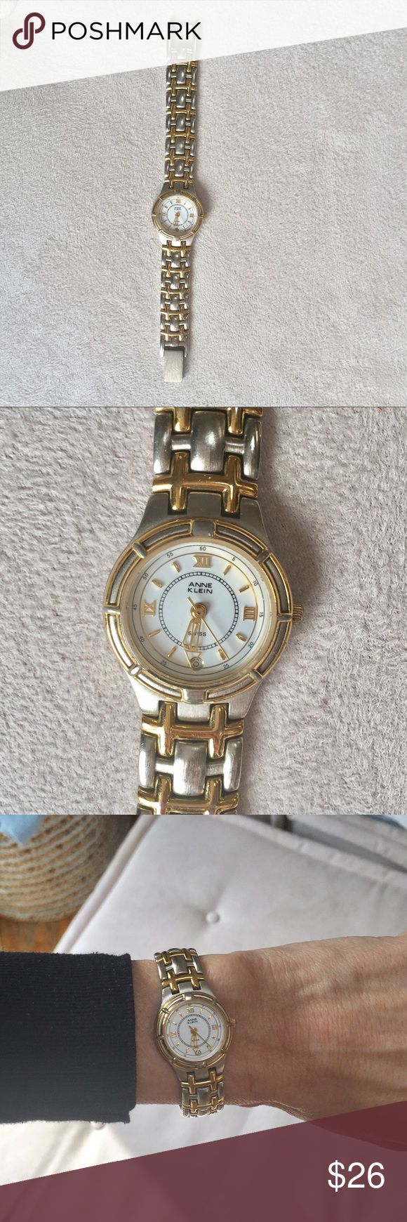 """Anne Klein Two Tone Watch Classic watch with silver and gold-tone armband, white face and date window.  Good used condition- a few faint scratches on the links, light scratches on the clasp & a barely-seen tiny nick on the edge of the glass between the """"2"""" and """"3"""" (last photo), reflected in low price! Measures 1"""" circle & enclosure, 6"""" end to end. Works perfectly, just needs a new battery! Anne Klein Accessories Watches"""