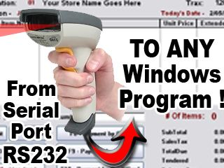 RS232 to Keyboard software http://www.billproduction.com/Wedge_Keyboard_Serial_RS232_Barcode_Scanner/INDEX.HTML