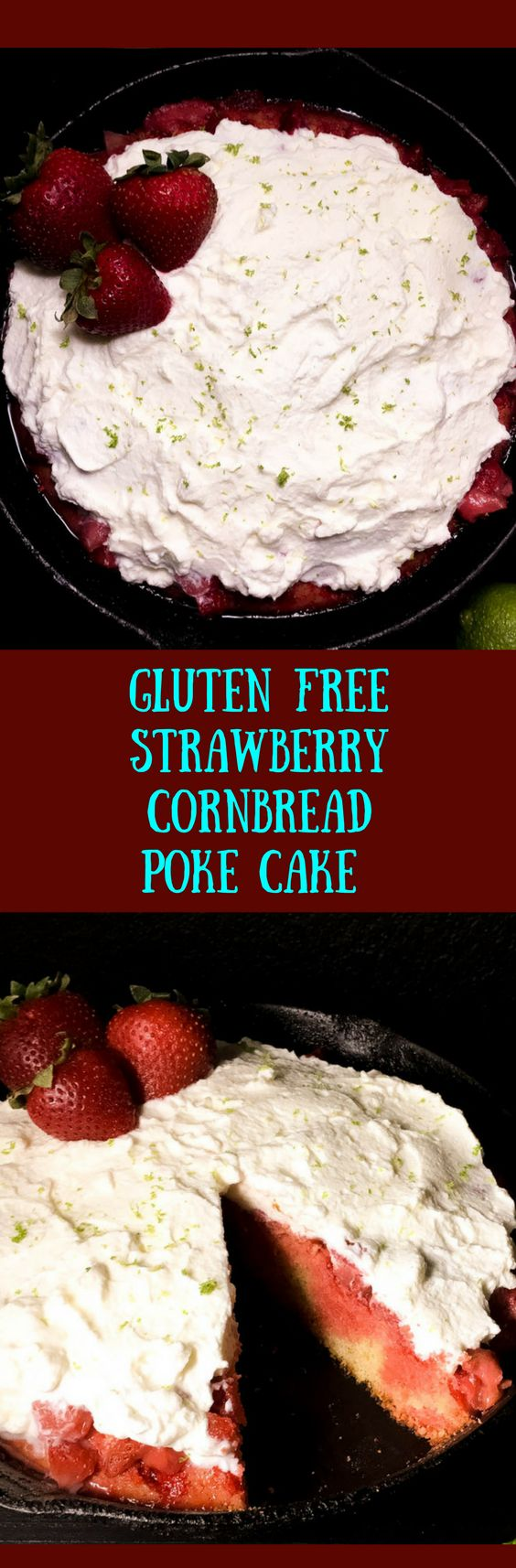 Homemade cornbread gets poked, filled with a strawberry Jello/water mixture, then topped with an easy homemade strawberry compote. After a couple of hours in the fridge, a simple homemade whipped cream topping puts the literal icing on this yum-delicious gluten free strawberry cornbread poke cake from A Sprinkling of Cayenne. | http://asprinklingofcayenne.com/gluten-free-strawberry-cornbread-poke-cake/