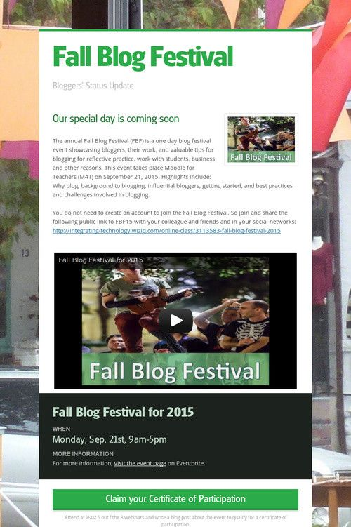Help spread the word about Fall Blog Festival. Please share! :)
