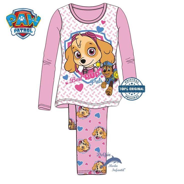 Pijama largo de niña de la PATRULLA CANINA algodon rosa de Skye