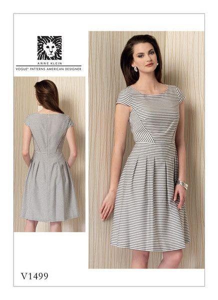 Vogue Sewing Pattern by Anne Klein: V1499 Misses' Cap Sleeve, Pleated-Skirt Dress … WeaverDee.com