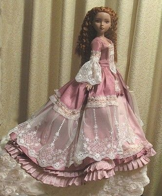 This is a 3 day sale with Priority Shipping Gorgeous 18th Century Pompadour style ensemble for 16  Tonner Ellowyne, Prudence, Unoa and other similarly sized 16  dolls Sewn from a pattern by Magalie Da