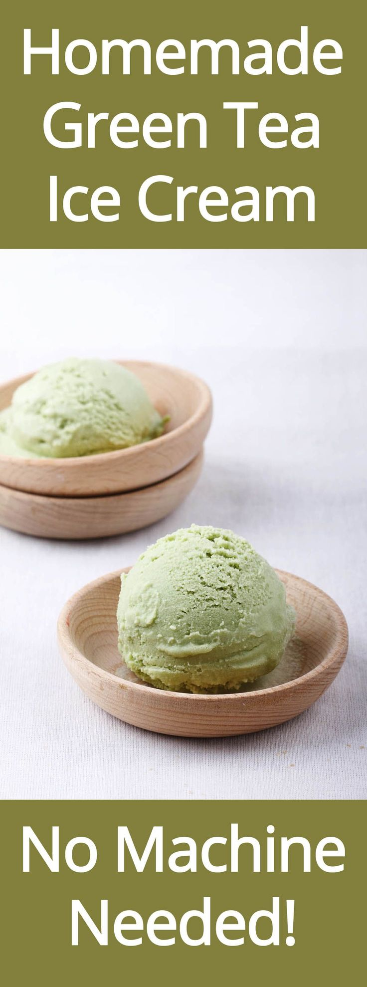 Homemade Green Tea (Matcha) Ice Cream - No Machine Needed! (from MelanieCooks.com)