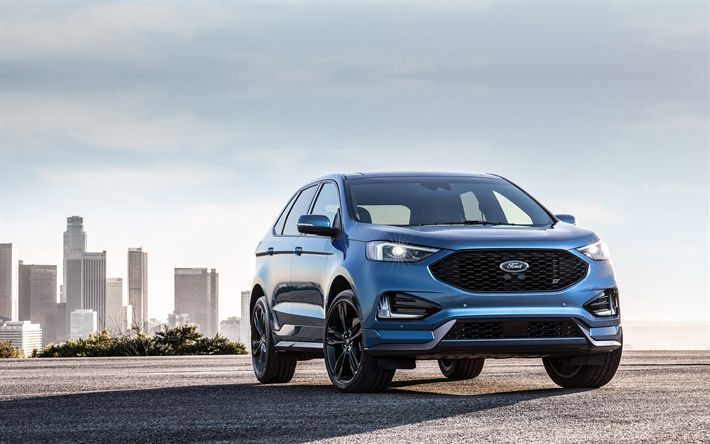 Download wallpapers Ford Edge ST, 2019, new SUV, blue Edge, American cars, Ford