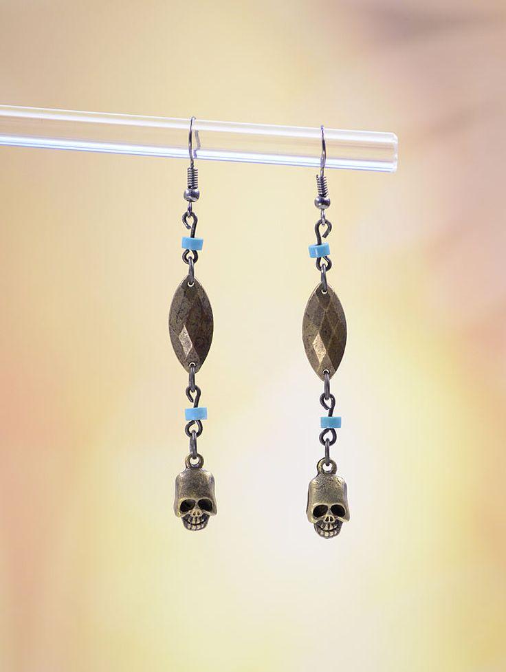 Handmade Zombie Apocolypse Walking Dead Fan Antique Brass Skull BoHo Dangle Earrings #323 by VendiDemCreations on Etsy