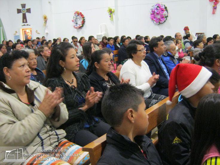 Participación de la comunidad de la Novena Navideña en la Zona Pastoral Santa Marta Barrio La Minga de la ciudad de Pasto - Nariño Colombia.