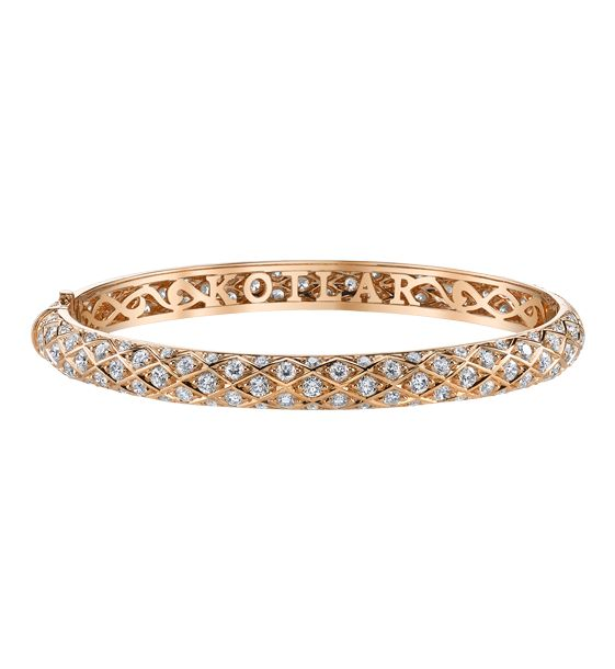 Harry Kotlar Criss Cross Artisan Pave Halfway Rose Gold Bangle mB5m22Liq