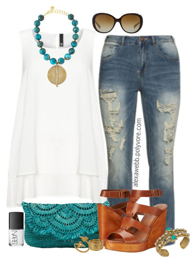 """""""Plus Size - Summer Tunic"""" by alexawebb ❤ liked on Polyvore featuring Manon Baptiste, NARS Cosmetics, ZJ Denim Identity, Mar y Sol, Lucky Brand, SonyaRenée, Janna Conner Designs, Coach, Melinda Maria and NEST Jewelry"""