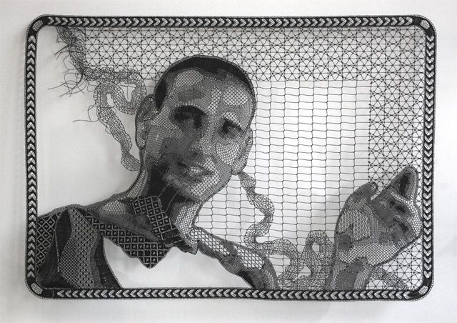This recent portrait by Cape Town-based artist Pierre Fouché was made over a four year period using bobbin lace in polyester thread. I've never seen anyone work with lace and can only imagine the immeasurable skill and patience needed to create something this intricate.