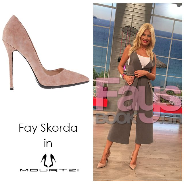 ΦΑΙΗ ΣΚΟΡΔΑ Fay Skorda in Mourtzi shoes #mourtzi #pumps #nude #suedeshoes www.mourtzi.com