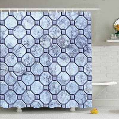 """Ambesonne Apartment Retro Marble Tiled Spiral and Round Circular Bound Tied Shapes Design Shower Curtain Set Size: 84"""" H x 69"""" W x 1"""" D"""