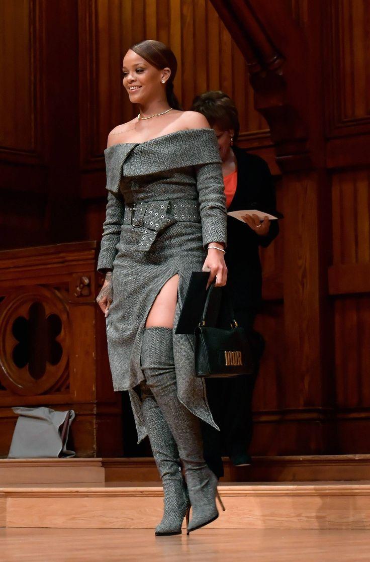 Rihanna on stage at Harvard University to accept the 2017 Harvard Humanitarian of The Year Award. (Feb. 28)