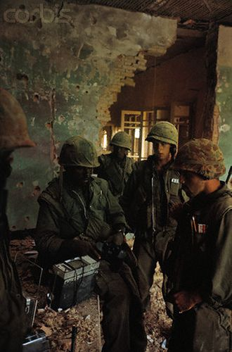 03 Feb 1968, Hue, South Vietnam --- US Marines in Battle Scarred Building --- Image by © Bettmann/CORBIS https://flic.kr/p/6F2Av7 | U1583332-11 |
