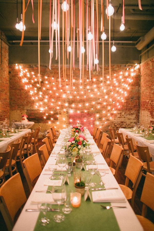 Indoor Wedding Reception -- Make it fantastic with the #lighting! Abby Rose Photo | On SMP:  http://www.StyleMePretty.com/2012/07/09/ann-arbor-wedding-at-zingermans-events-on-4th-by-abby-rose-photo/