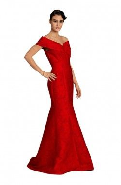 Jovani - Red Bardot Dress (98840B)
