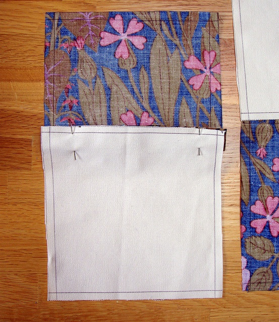 Step Three:Pinned squares, carefully make sure they are lined up. Feel free  to use more pins