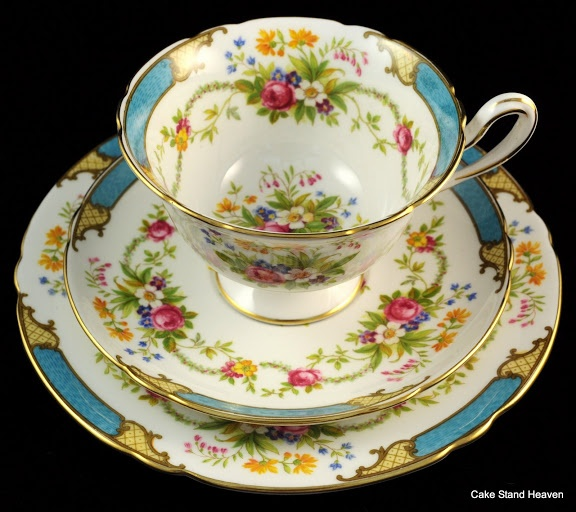 Shelley Vintage Bone China 'Dubarry' Teacup, Saucer and Tea Plate